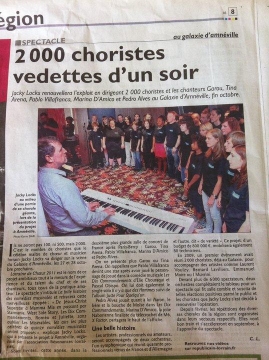 2000 choristes vedettes d'un soir - Républicain Lorrain - 16 juillet 2011