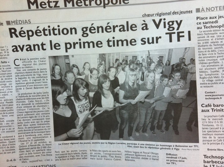 Répétition générale à Vigy avant le prime time sur TF1 - Républicain Lorrain - 28 mai 2011
